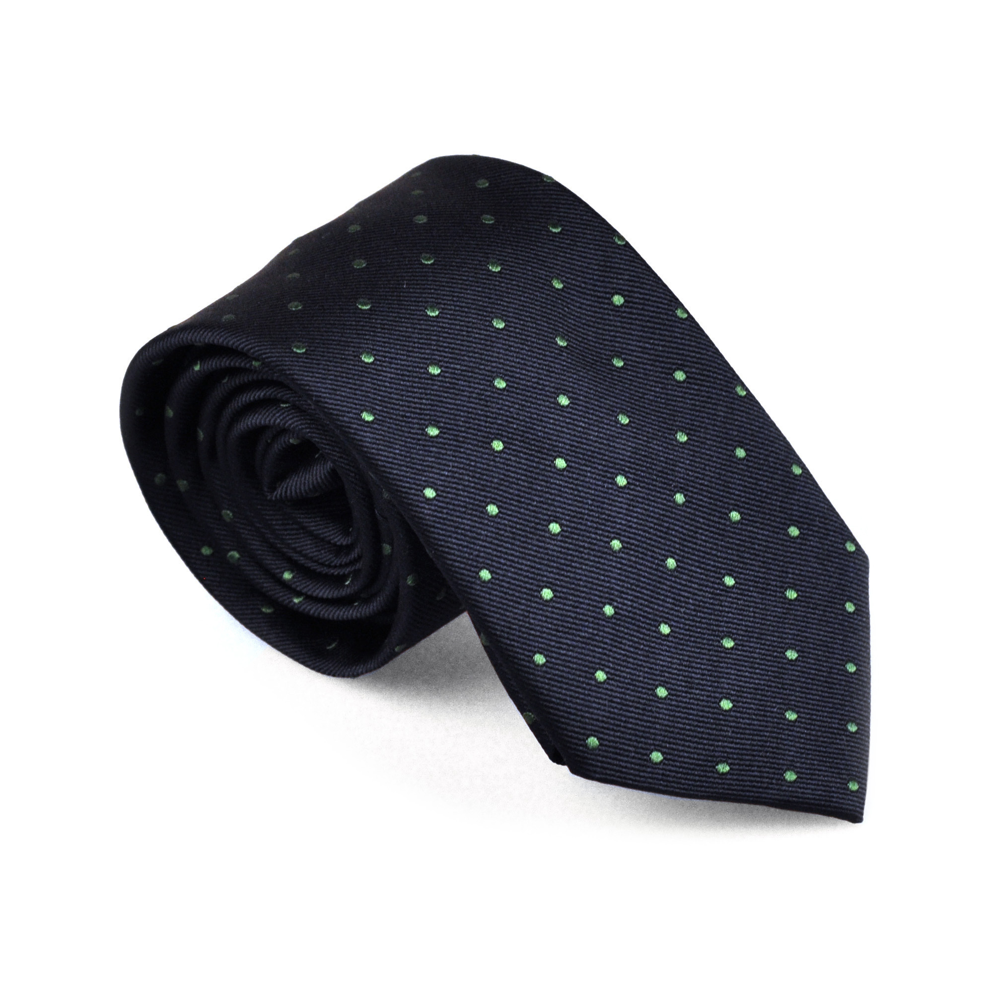Silk Tie Blue with Green dots