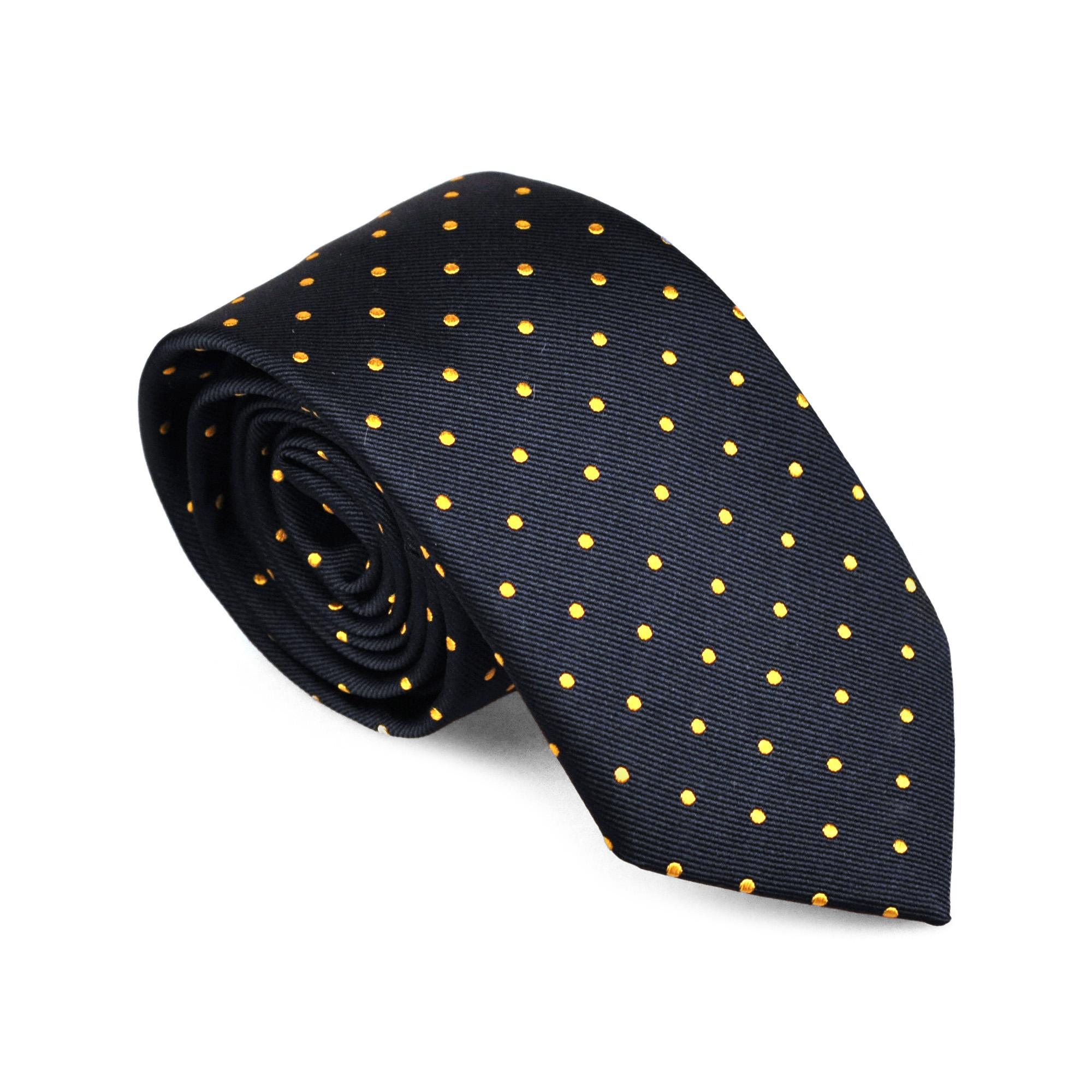 Silk Tie Blue with Yellow dots